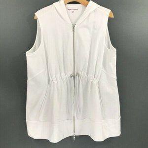 Jessica London Womens White Zip-Up Vest Blouse